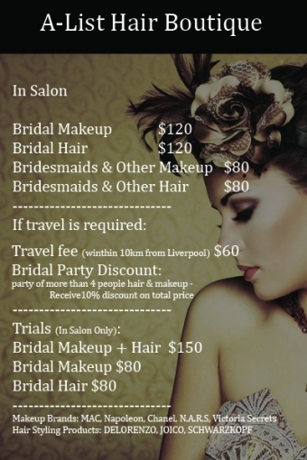 Hair And Makeup A List Hair Boutique Hairdresser Intended For Wedding Hair And Makeup Prices
