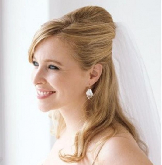 Half Updo Wedding Hairstyle With Veil Picture Wedding Hairstyles Throughout Elegant Wedding Hair Half Up With Veil Sf8