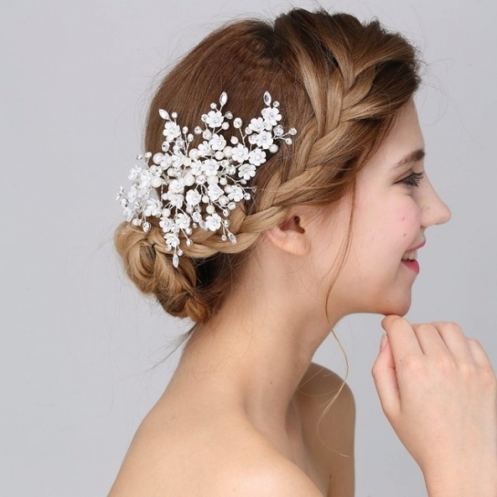 Jonnafe New Arrival Handmade Floral Bridal Hair Accessories Clip Intended For Wedding Hair Clips And Combs