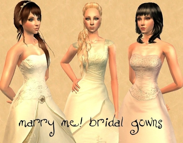 Mod The Sims   ~Marry Me! Bridal Gowns~ For New Sims 3 Wedding Hair Klp8