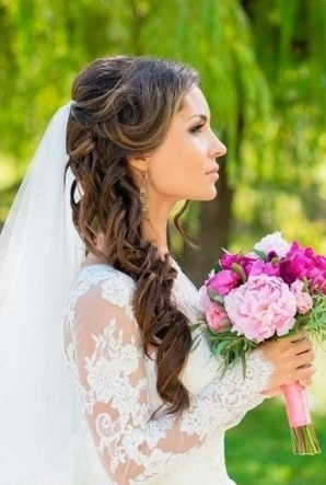 Photo Gallery Of Wedding Hairstyles For Long Hair Half Up With Veil With Elegant Wedding Hair Half Up With Veil Sf8