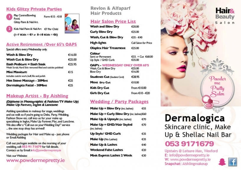 Powder Me Pretty Salon ~ Price List Inside Wedding Hair And Makeup Prices