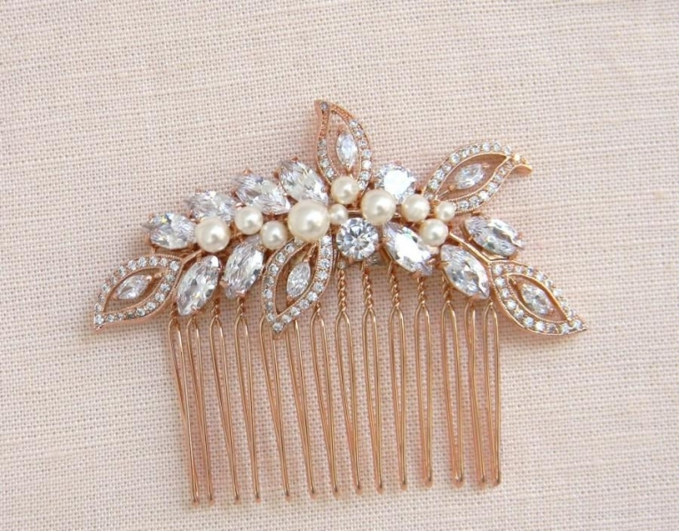 Rose Gold Bridal Comb, Rose Gold Wedding Headpiece, Hair Clip Within New Wedding Hair Clips And Combs Ty4