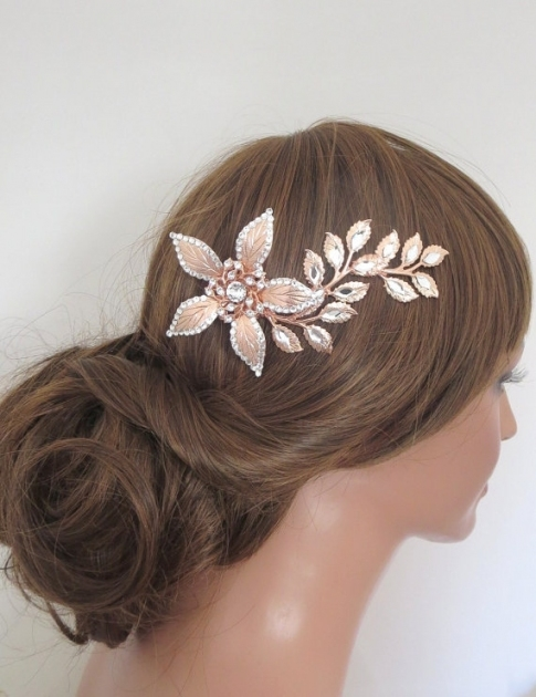 Rose Gold Hair Comb, Rose Gold Headpiece, Rose Gold Bridal Hair Clip Regarding New Wedding Hair Clips And Combs Ty4