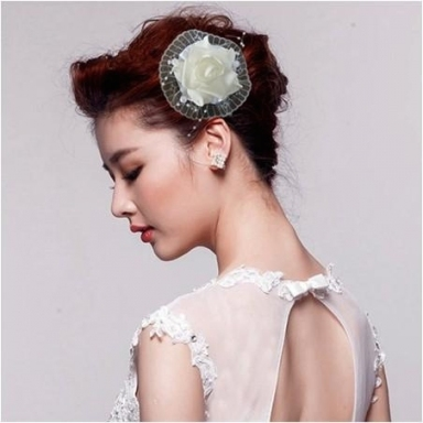 Sexy Bridal Hair Accessories Silk & Foam White & Rose Hair Clips Inside New Sexy Wedding Hair Klp8
