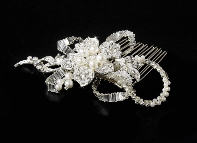 Silver Diamond White Pearl Bridal Comb   Elegant Bridal Hair Accessories Inside Wedding Hair Clips And Combs