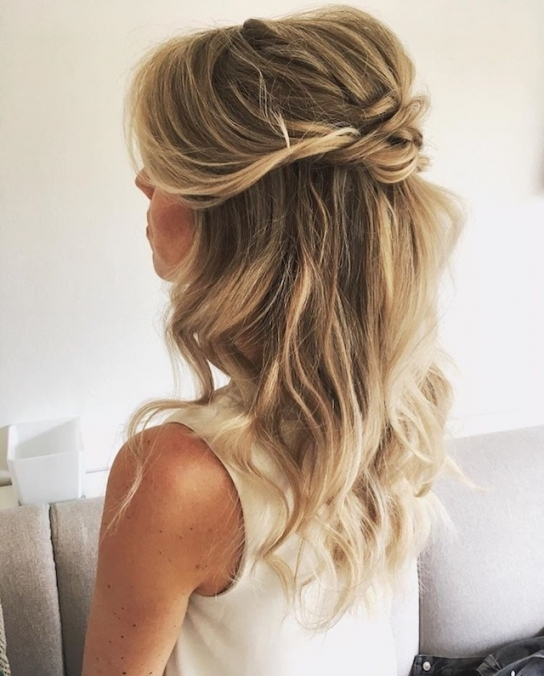 Awesome Half Updos For Long Hair Wedding kc3