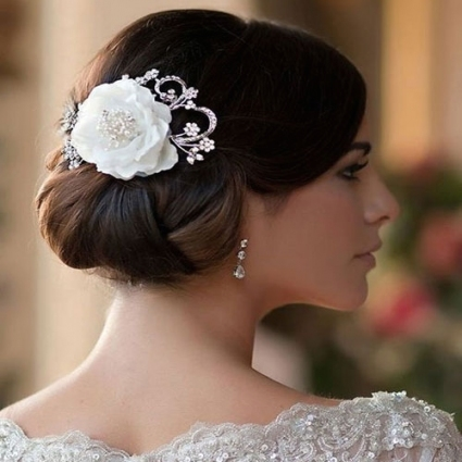 Vintage Flower Wedding Hair Clip   Jasmine   Zaphira Bridal Regarding Vintage Wedding Hair Piece