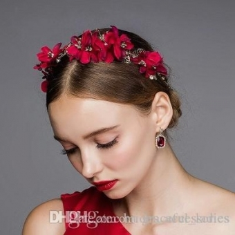 Vintage Red Flower Hair Accessories Wedding Hair Accessories For With Regard To Elegant Vintage Wedding Hair Piece Dt3