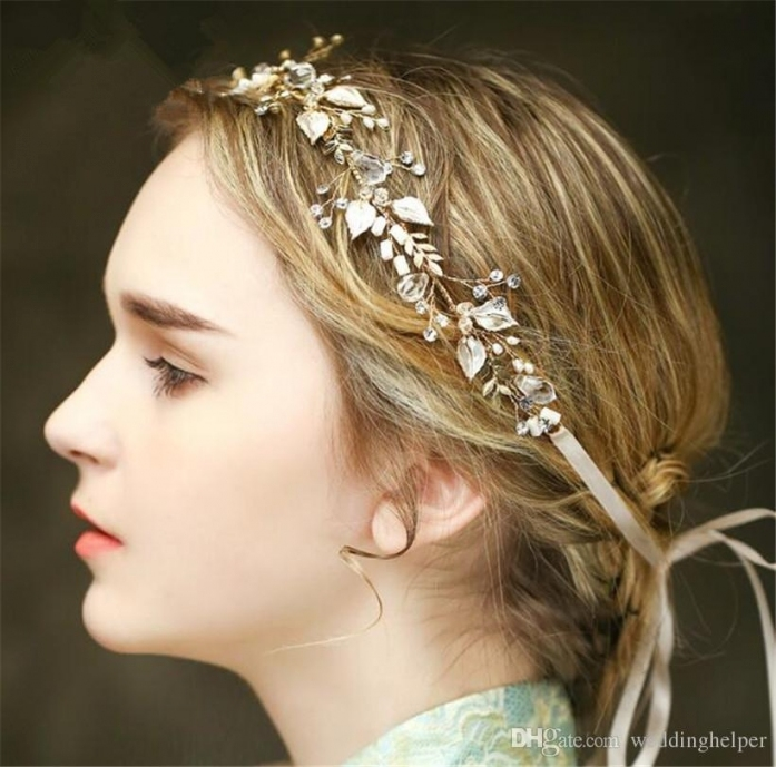Vintage Wedding Bridal Crystal Headband Ribbon Rhinestone Crown Within Vintage Wedding Hair Piece