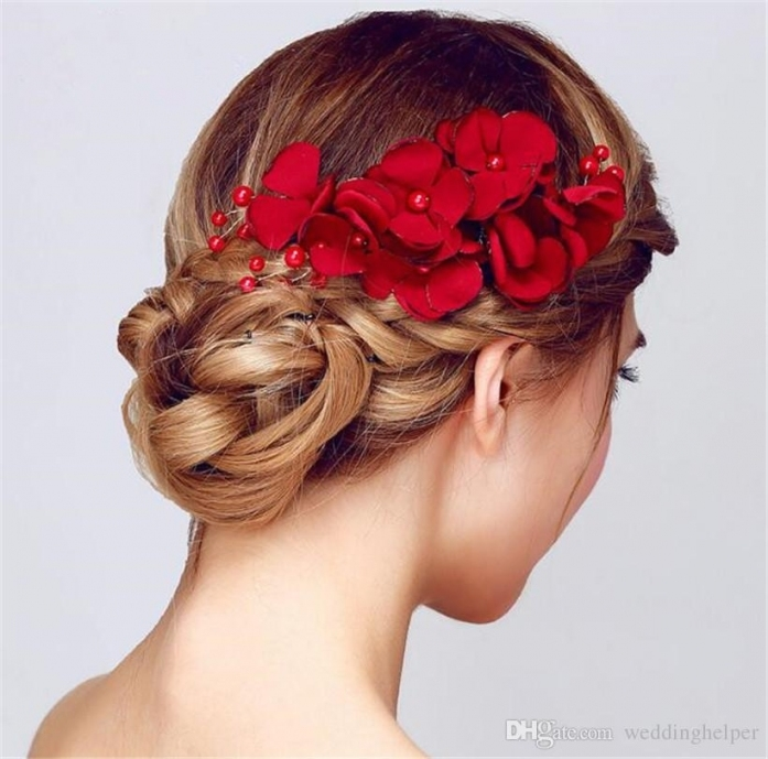 Vintage Wedding Bridal Hair Flower Comb Red Rose Headpiece Hair Pertaining To Wedding Hair Clips And Combs