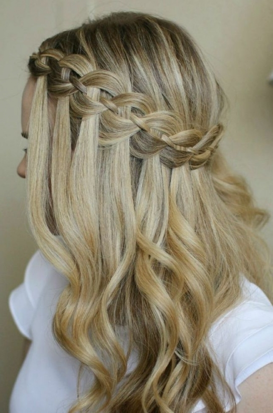 Waterfall Braid (27)   Glamorous Hairstyles | Hair | Pinterest Inside Waterfall Braid Wedding Hair