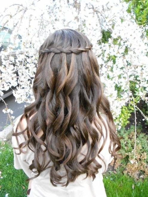 Waterfall Braid, Wedding Hair, Should Go Fine With Natural Curls Inside Lovely Waterfall Braid Wedding Hair Fg8