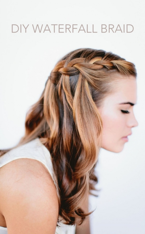 Waterfall Braid Wedding Hairstyles For Long Hair   Once Wed With Regard To Waterfall Braid Wedding Hair