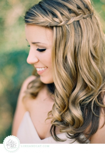 Wedding Dress Story: Waterfall Braid Wedding Hairstyles With Regard To Lovely Waterfall Braid Wedding Hair Fg8