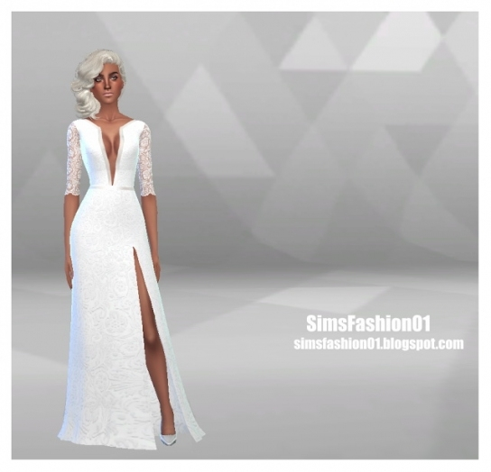 Wedding Dress With Slit At Sims Fashion01 » Sims 4 Updates For Sims 3 Wedding Hair