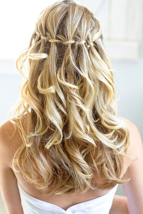 Wedding Hairstyles For Long Hair (3)   Glamorous Hairstyles Within Lovely Waterfall Braid Wedding Hair Fg8