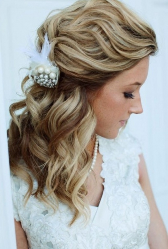 Wedding Hairstyles Half Up Half Down With Curls | Best Wedding Hairs Regarding Wedding Hair For Medium Hair