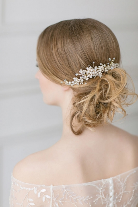 Wedding Pearl Hair Piece, Gold Swarovski Headpiece, Bridal Hair Comb Inside New Wedding Hair Clips And Combs Ty4