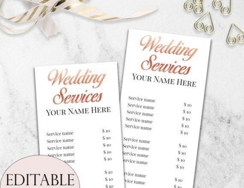 Wedding Services Price List Template, Editable Wedding Services With Regard To Beautiful Wedding Hair And Makeup Prices Klp8
