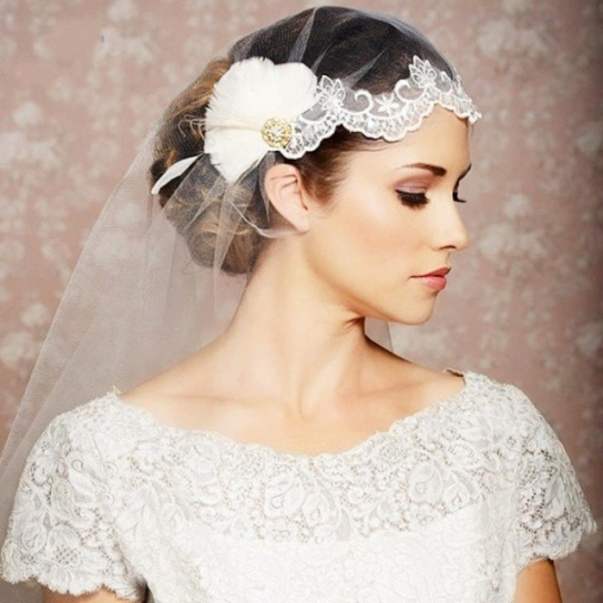 20 Stunning Wedding Hairstyles With Veils And Hairpieces   Pretty In Beautiful Wedding Hairstyles For Short Hair With Veil Df9