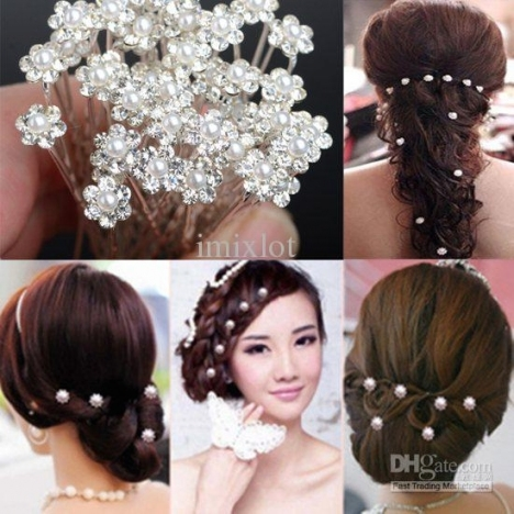 2018 Fashion Pearl Hair Pins Crystal Hair Jewellery Wedding Bridal In Luxury Hair Jewelry Wedding Klp8