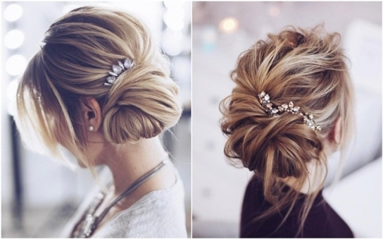 30 Chic Wedding Hair Updos For Elegant Brides   Deer Pearl Flowers Within Wedding Hair Up Do