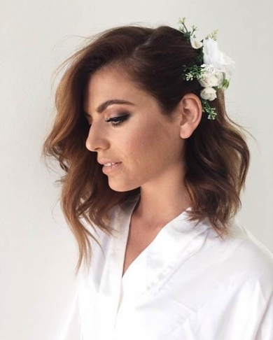 31 Wedding Hairstyles For Short To Mid Length Hair | Stayglam Intended For Best Of Wedding Updos For Shoulder Length Hair Sf8