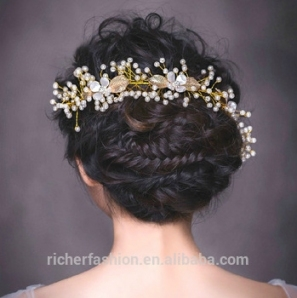 Baroque Hair Jewelry Wedding Party Gold Leaves Crystal Pearl in Luxury Hair Jewelry Wedding klp8
