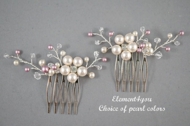 Bridal Comb, Wedding Hair Comb, Set Of 2, Ivory Champagne Pearls Inside Pearl Hair Comb Wedding