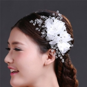China Wholesale Wedding Hair Accessories Indian Crystal Flower Intended For Luxury Hair Jewelry Wedding Klp8