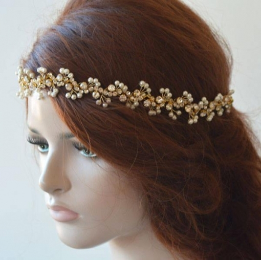 Gold Pearl Headband For Wedding, Pearl Headband Wedding , Pearl In Luxury Hair Jewelry Wedding Klp8