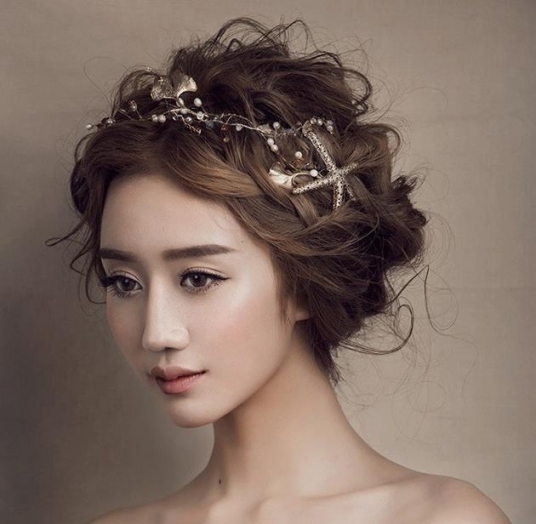 Korea Bride Sea Star Simulated Pearl Leaf Headbands Tiara Hair throughout Luxury Hair Jewelry Wedding klp8