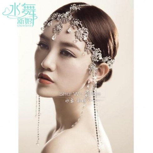 Korean Crystal Head Chain Tassel Frontlet Bridal Hair Accessories With Luxury Hair Jewelry Wedding Klp8