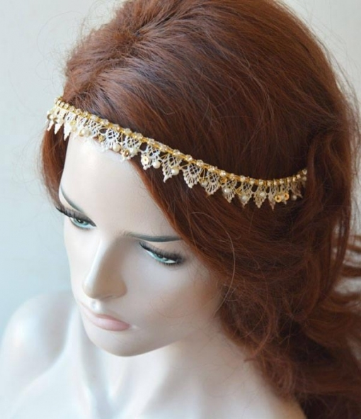 Lace Headpiece For Wedding, Lace Wedding Headband, Headband Gold With Regard To Luxury Hair Jewelry Wedding Klp8