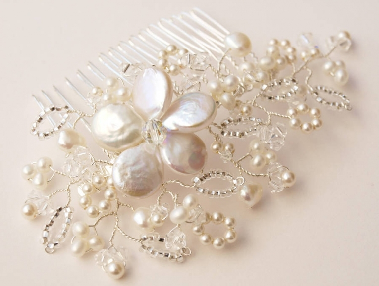 Lace Pearl And Crystal Bridal Hair Combjewellery Mademe Regarding Luxury Pearl Hair Comb Wedding Kc3