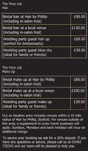 Our Wedding Hair And Makeup Packages Price List   Hairphillip Throughout Beautiful Hair And Makeup For Wedding Cost Klp8