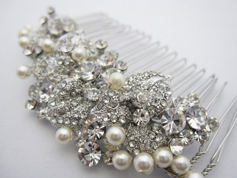 Pearl Bridal Comb,bridal Hair Comb Crystal And Pearl,wedding Hair Within Luxury Pearl Hair Comb Wedding Kc3