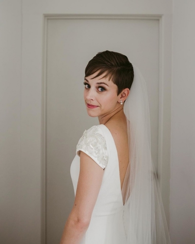 Pixie Cut Wedding Hairstyle With Long Veil | Brides intended for Wedding Hairstyles For Short Hair With Veil