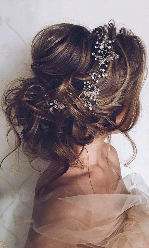 Romantic Updo Wedding Hairstyles For Long Hair With Headpieces   Oh In Updo Wedding Hair