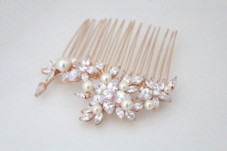 Rose Gold Hair Comb, Bridal Hair Comb, Crystal Flower Headpiece In Luxury Pearl Hair Comb Wedding Kc3