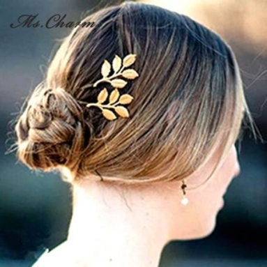 Shop For Leiiy Gold Plated Leaves Bridal Hair Pins Fashion Jewelry With Hair Jewelry Wedding