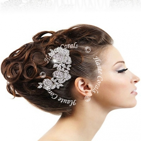 Somto   Vintage Style Rhinestone Rose Flower Bridal Hair Comb In Luxury Hair Jewelry Wedding Klp8