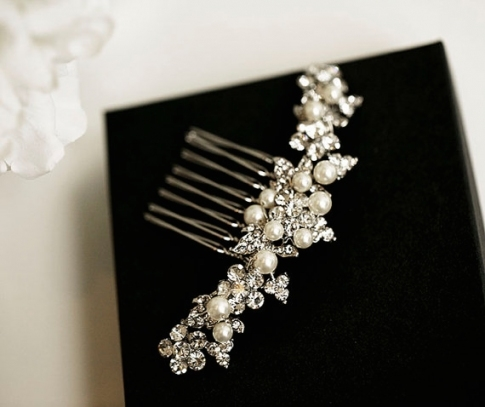 Swarovski Pearl And Crystal Hair Comb, Rose Gold Bridal Hair Comb Throughout Pearl Hair Comb Wedding