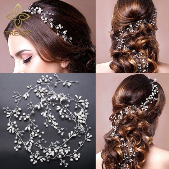 Treazy Elegant Imitation Pearl Crystal Hair Band Wedding Hair with regard to Hair Jewelry Wedding