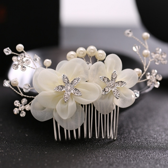 Tuanming Luxury Bridal Wedding Hair Accessories Pearl Hair Comb Throughout Luxury Pearl Hair Comb Wedding Kc3