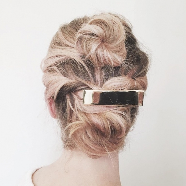 Wedding Hair: Short Hair Updo With Barrette | Brides Intended For Wedding Updo For Short Hair