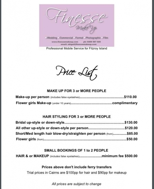 Wedding Price List - Makeup - Finesse Makeup in Hair And Makeup For Wedding Cost