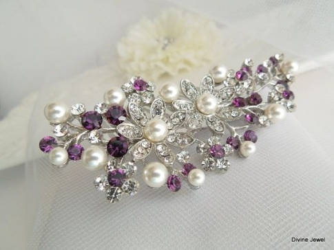 12 Best Wedding Hair Accessories Images On Pinterest | Wedding Hair Intended For Unique Purple Wedding Hair Accessories Dt3