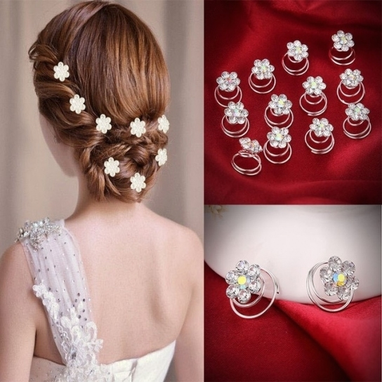 12Pcs Hairpins Twist Coils Hair Spin Pins Bridal Wedding Prom Intended For Hair Pins For Wedding